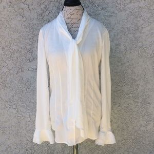 Sheer White Button Down Career Work Blouse Shirt